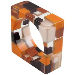 Oversized Lucite Resin Bracelet Bangle Checkerboard Inclusion Orange Brown White