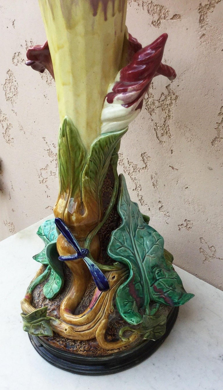 Late 19th Century Oversized Majolica Morning Glory Vase circa 1890 Fives Lille For Sale