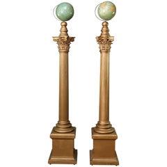 Oversized Masonic Lodge Ceremonial Gilt Corinthian Columns & World Globes, Pair