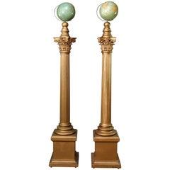 Oversized Knights Templar Ceremonial Corinthian Columns & World Globes, Pair