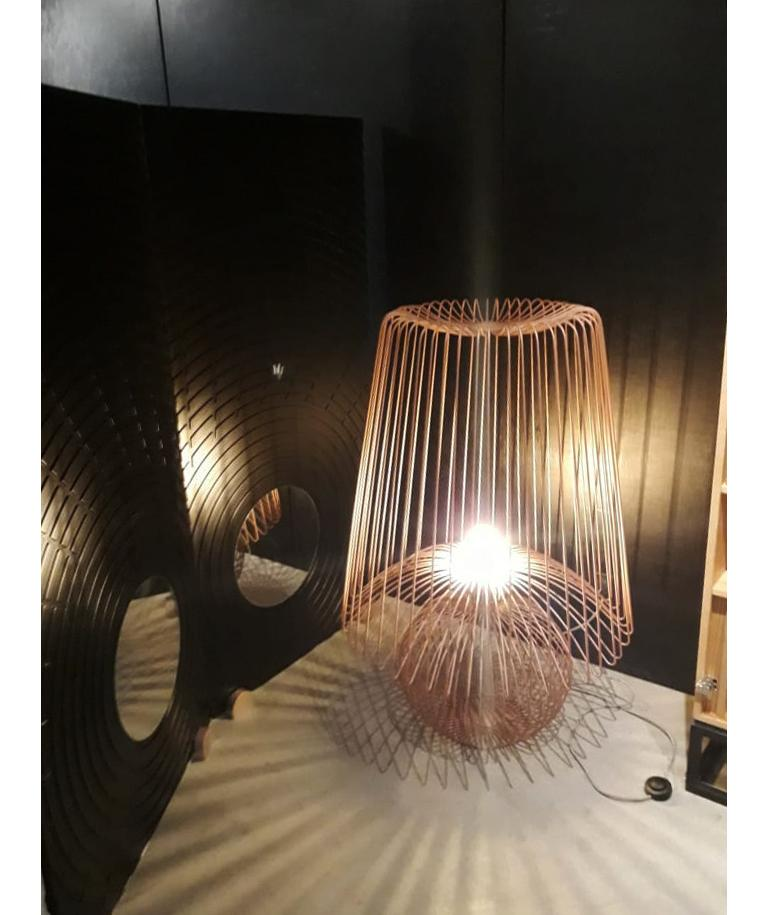 Brazilian Oversized Metal Floor Lamp Koy in Rose Gold For Sale