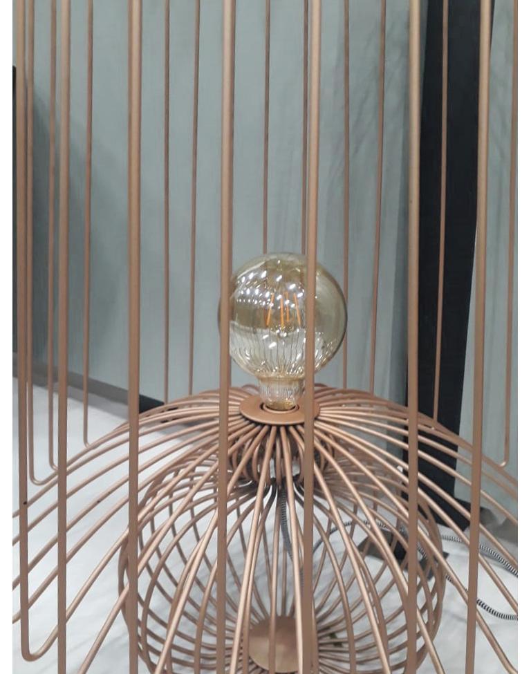 Metalwork Oversized Metal Floor Lamp Koy in Rose Gold For Sale