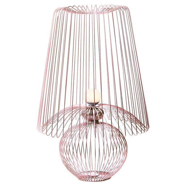 Oversized Metal Floor Lamp Koy in Rose Gold For Sale