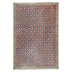 Oversized Mid-20th Century Blue, Red, Violet, Green Indian Dhurrie Cotton Rug