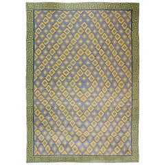 Oversized Midcentury Indian Dhurrie Blue and Yellow Hand Knotted Cotton Rug