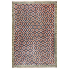 Oversized Midcentury Indian Dhurrie Cotton Rug in Dark Blue, Cool Red and Violet