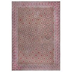 Oversized Midcentury Indian Dhurrie Geometric Multicolored Handmade Rug