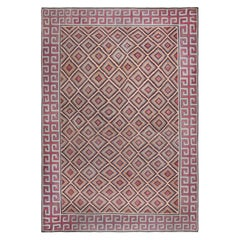 Oversized Midcentury Indian Dhurrie Geometric Multicolored Handmade Rug