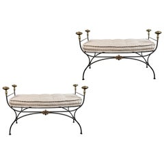 Oversized, Midcentury, Italian, Iron Benches