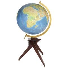 Oversized Midcentury Italian World Globe, 1950s