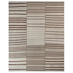 Oversized Midcentury Persian Kilim Rug in Brown and Beige Stripes