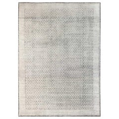 Oversized Modern Moroccan Black and White Hand Knotted Wool Elements Rug