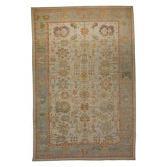 Oversized Modern Turkish Oushak Rug with Brightly Colored Floral Details