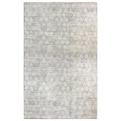 Oversized Moroccan Design Black & White Hand Knotted Textured Wool Elements Rug