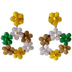 Oversized Multicolor Flower Statement Earrings