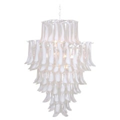 Oversized Murano Glass Tulipani or Feather Chandelier Attributed to Mazzega