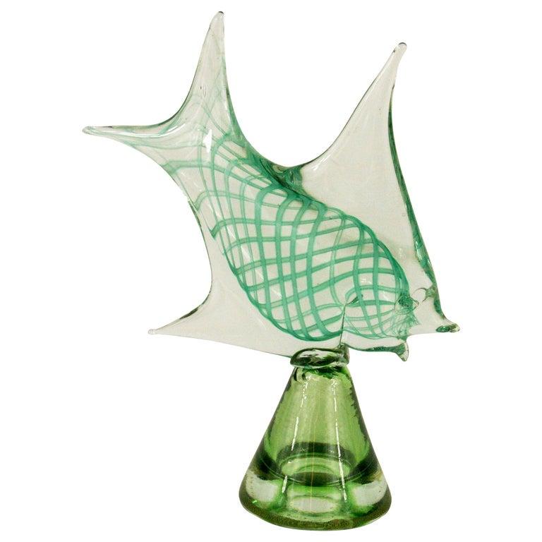 Murano  Art Glass Fish Sculpture For Sale