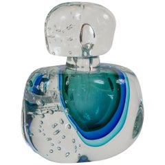Oversized Murano Turquoise Blown Bottle, Contemporary