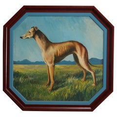 Oversized Oil on Board Dog Portrait Painting of Greyhound, Artist Signed