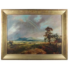 Oversized Oil on Canvas Hudson River School Rainbow Landscape Painting