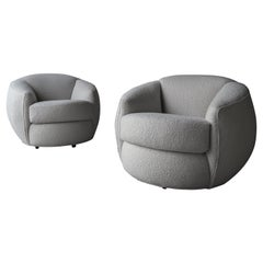 Oversized Pair of Bouclé Ball Lounge Chairs