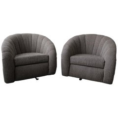 Oversized Pair of Channel Back Barrel Swivel Chairs