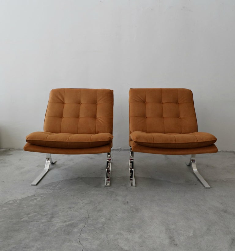 20th Century Oversized Pair of Midcentury Chrome Cantilever Slipper Chairs