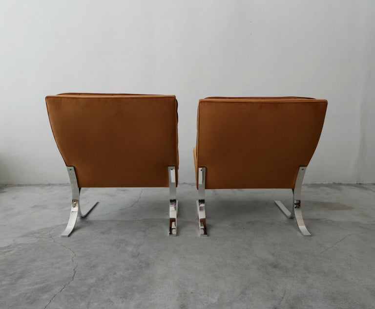 Oversized Pair of Midcentury Chrome Cantilever Slipper Chairs 2