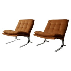 Oversized Pair of Midcentury Chrome Cantilever Slipper Chairs