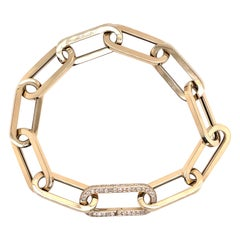 Oversized Paperclip Link Bracelet with Diamond Clasp 14 Karat Yellow Gold