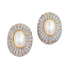 Oversized Pearl Cabochon And Crystal Pavé Statement Earrings, 1980s