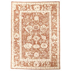 Oversized Persian Oushak Rug with Rust-Colored Field and White Floral Details