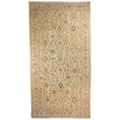 Oversized Persian Sultanabad Rug with Navy and Brown Botanical Details