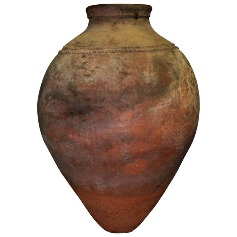 Oversized Portuguese Terracotta Olive Jar or Garden Urn, 18th Century For Sale