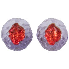 Oversized Purple Red Rock Lucite Clip Earrings