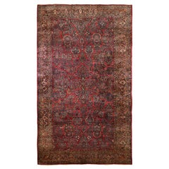 Oversized Red Antique Persian Sarouk Soft Wool Full Pile Hand Knotted Rug
