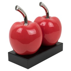 Oversized Red Ceramic Twin Cherry Sculpture