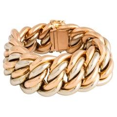 Oversized Retro White and Rose Gold Cable Bracelet