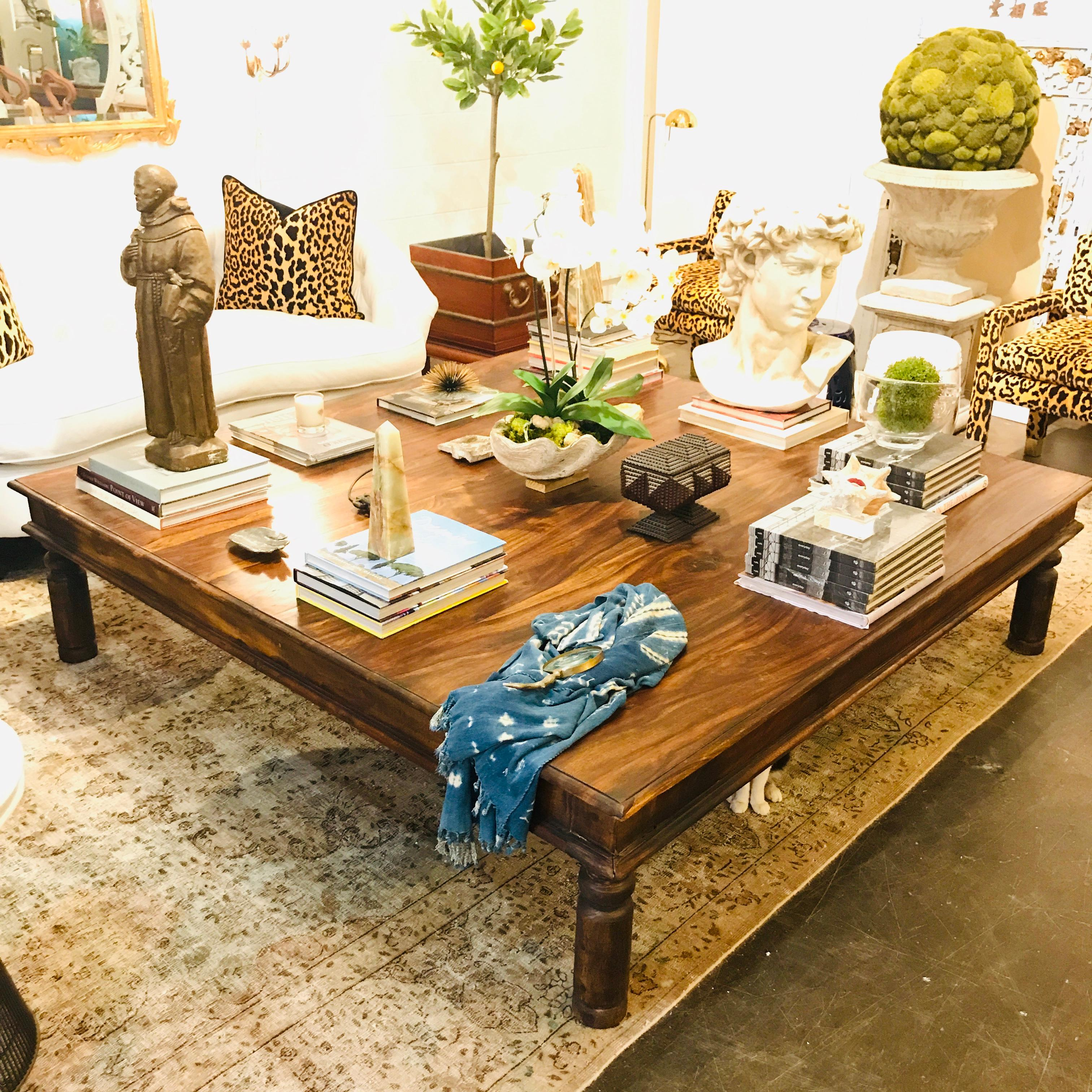 - Oversized Rustic Rosewood Coffee Table For Sale At 1stdibs