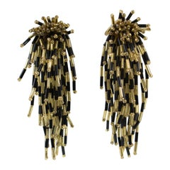 Oversized Shoulder Duster Waterfall Black and Gold Glass Clip-on Earrings