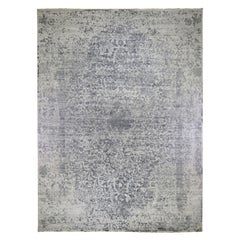 Oversized Silver-Dark Gray Erased Persian Design Wool and Pure Silk Hand Knotted