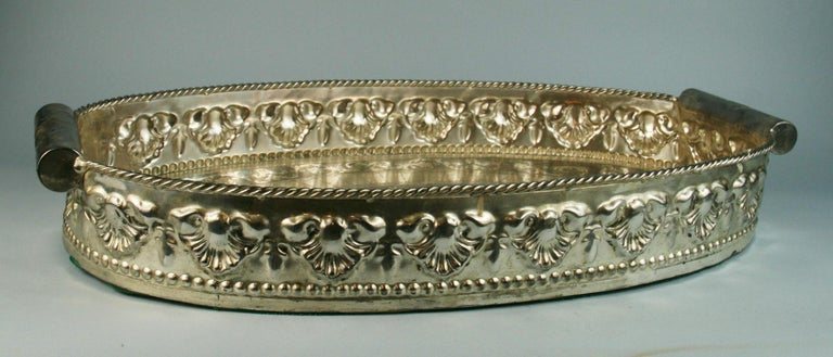 Mid-20th Century Oversized English  Silver Plated High Bordered Gallery Barware Tray For Sale