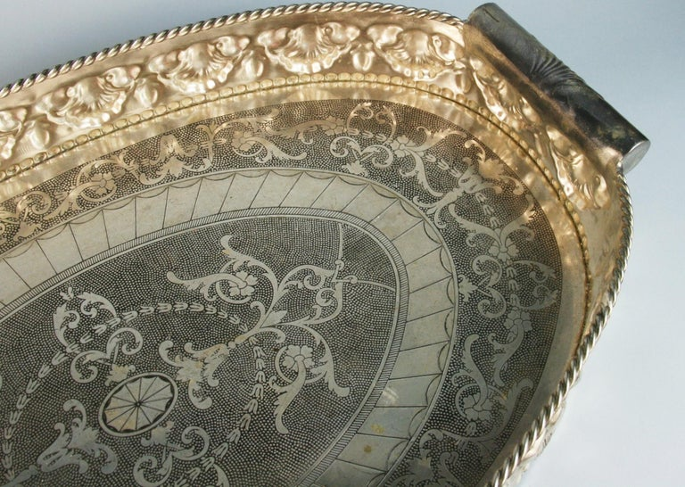 Oversized English  Silver Plated High Bordered Gallery Barware Tray For Sale 1