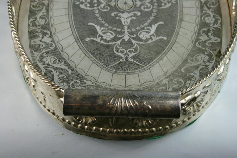 Oversized English  Silver Plated High Bordered Gallery Barware Tray For Sale 2
