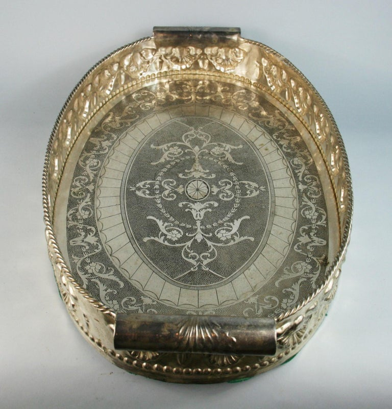 Oversized English  Silver Plated High Bordered Gallery Barware Tray For Sale 3