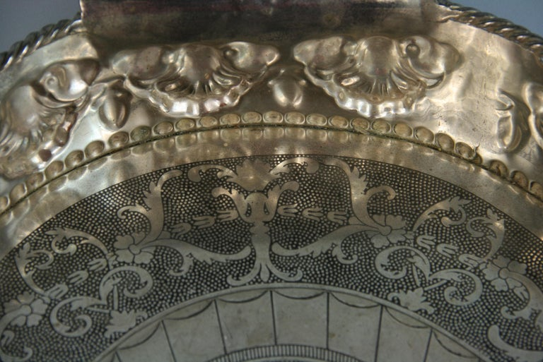 Oversized English  Silver Plated High Bordered Gallery Barware Tray For Sale 5