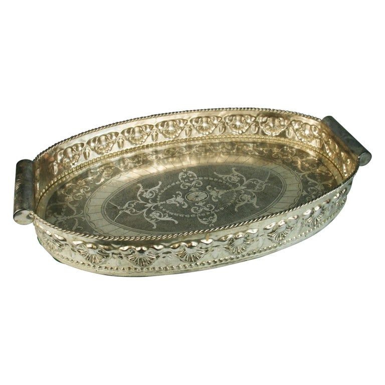 Oversized English  Silver Plated High Bordered Gallery Barware Tray For Sale