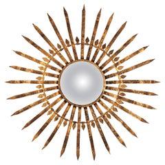 Oversized Sunburst Convex Mirror in Gilt Iron