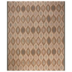 Oversized Swedish Design Beige and Brown Hand Knotted Wool Area Rug