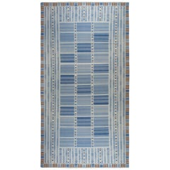 Oversized Swedish Design Blue, Brown and Yellow Flat-Weave